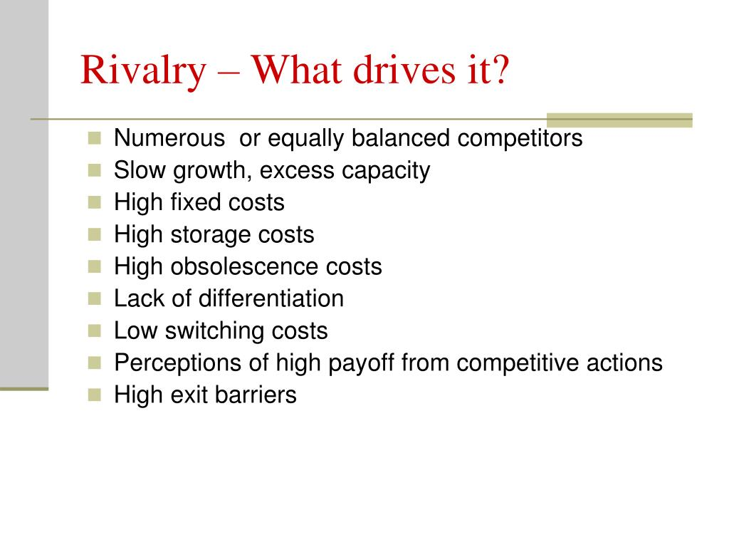 Rivalry – What drives it?