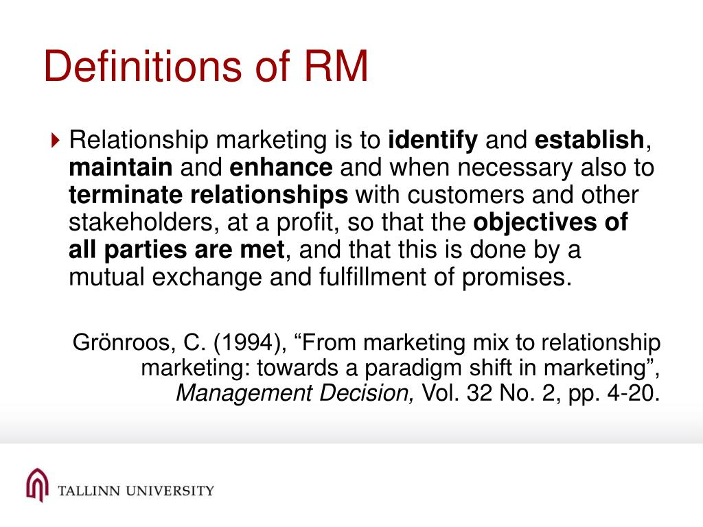 Definitions of RM