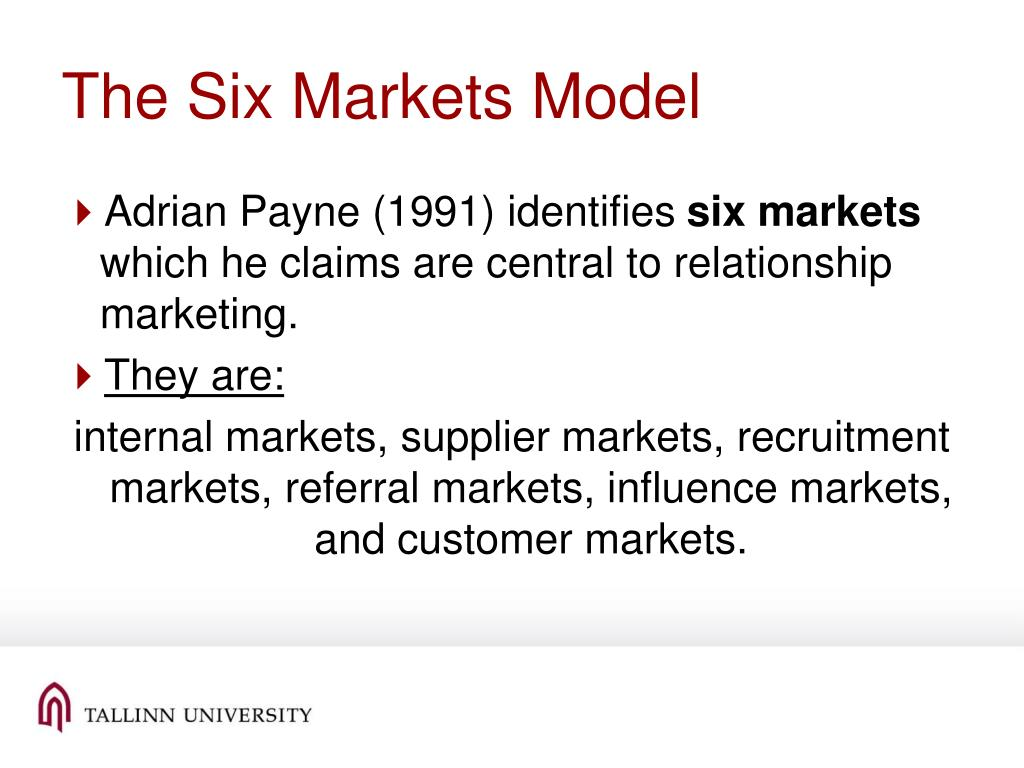 The Six Markets Model