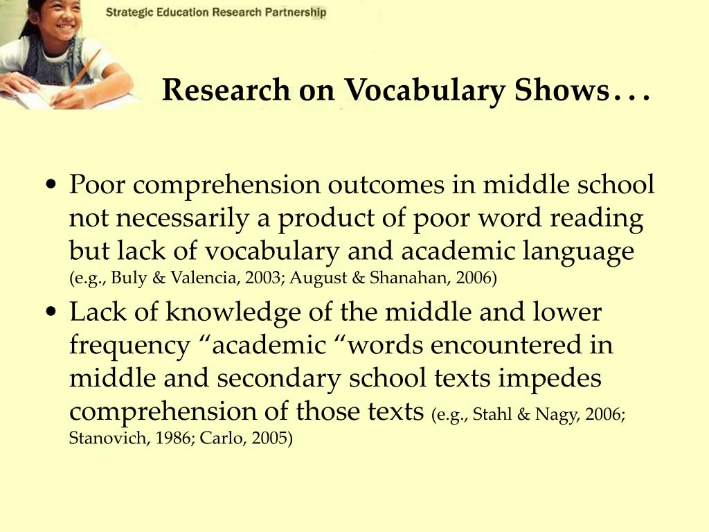 Research on Vocabulary Shows