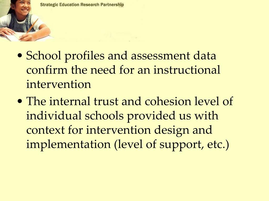 School profiles and assessment data confirm the need for an instructional intervention