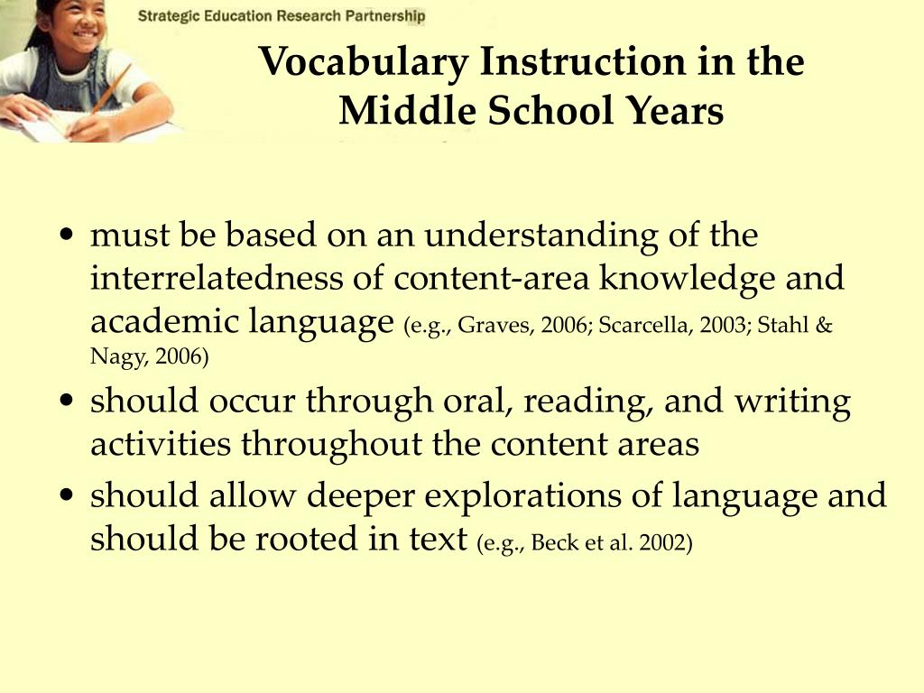Vocabulary Instruction in the Middle School Years