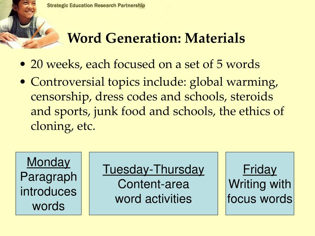 Word Generation: Materials