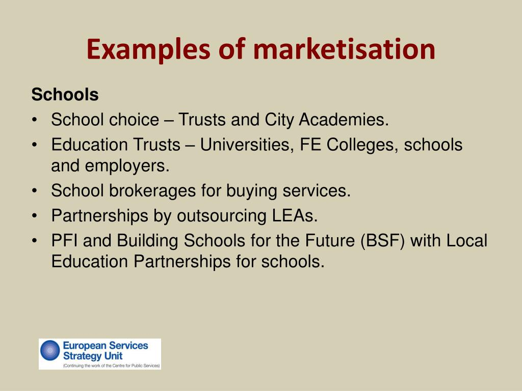 Examples of marketisation