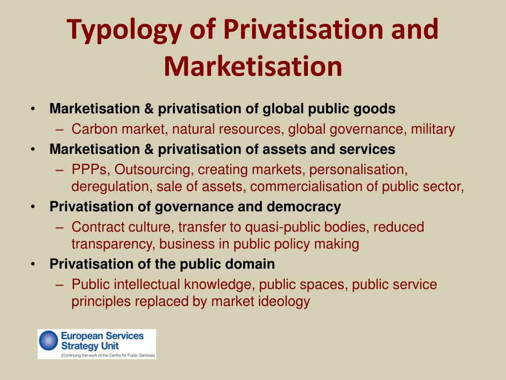 Typology of Privatisation and Marketisation