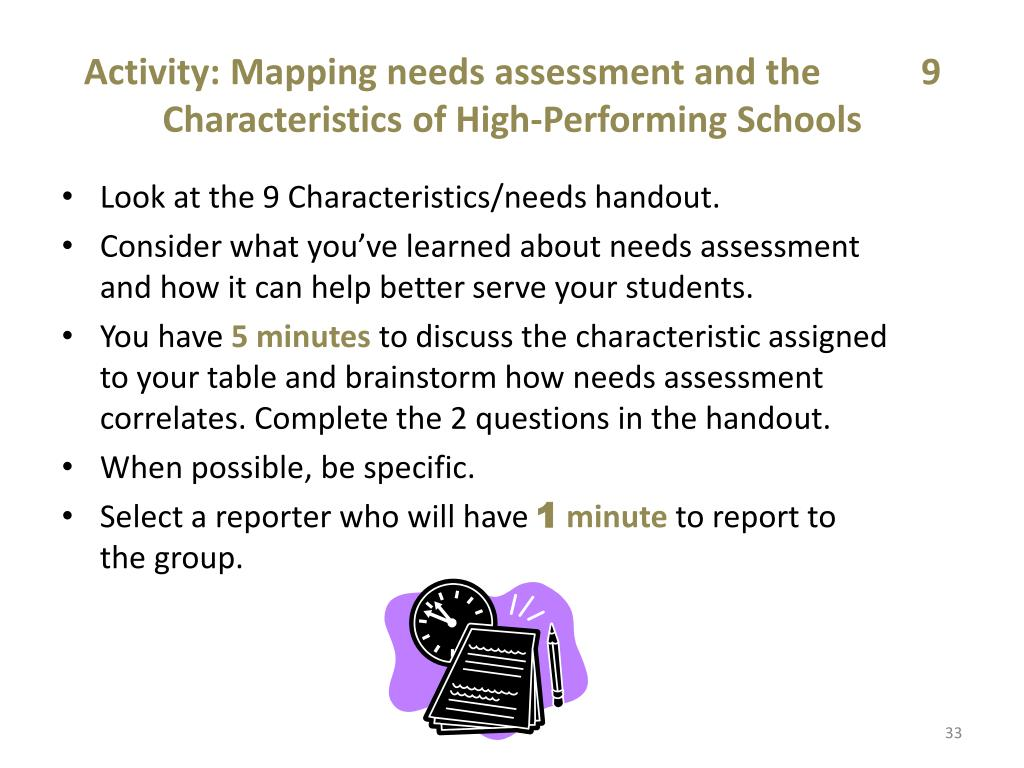Activity: Mapping needs assessment and the           9 Characteristics of High-Performing Schools