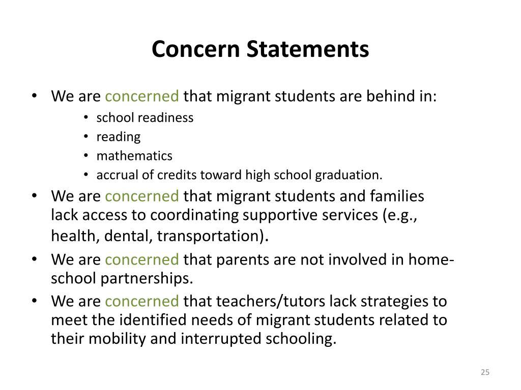 Concern Statements