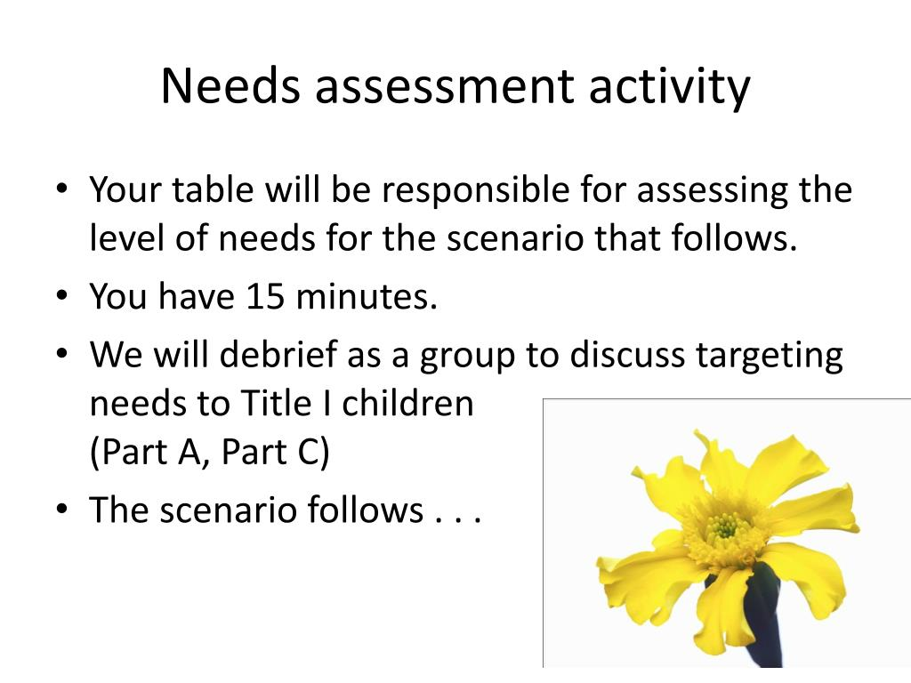 Needs assessment activity