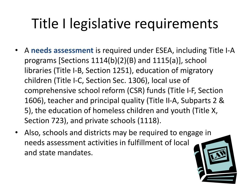 Title I legislative requirements