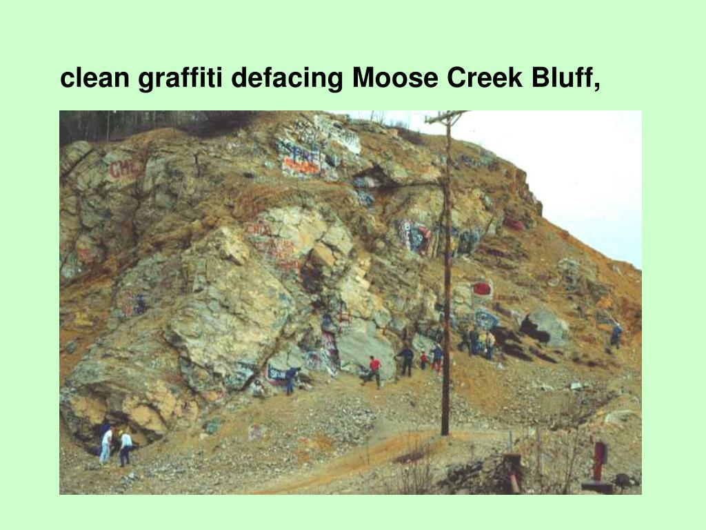 clean graffiti defacing Moose Creek Bluff,