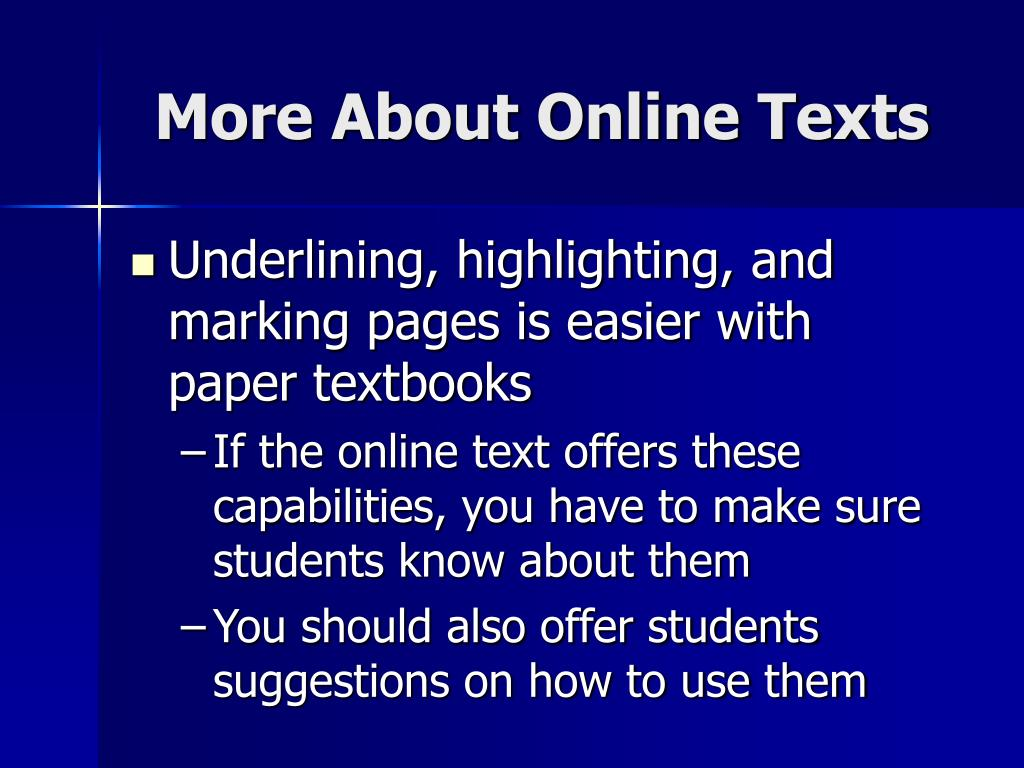 More About Online Texts