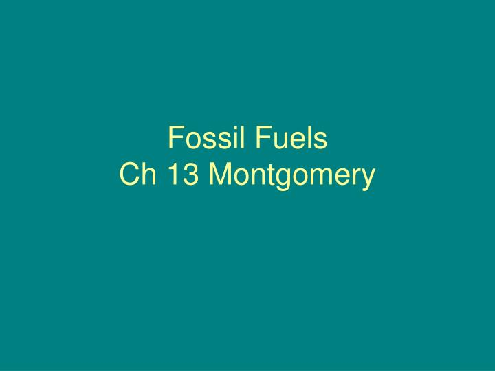 Fossil fuels ch 13 montgomery