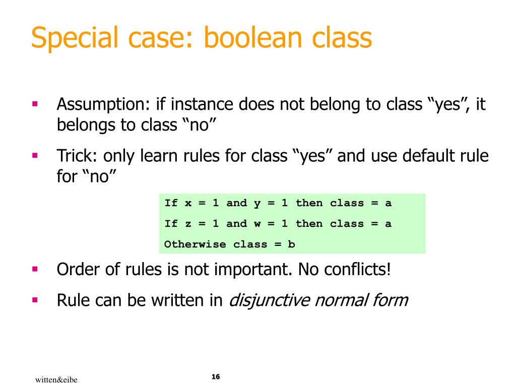 Special case: boolean class