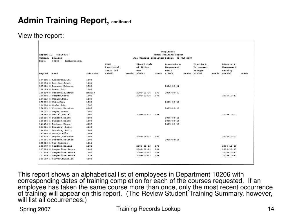 Admin Training Report,