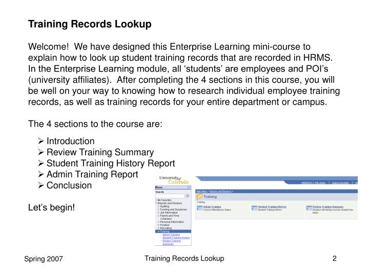 Training Records Lookup