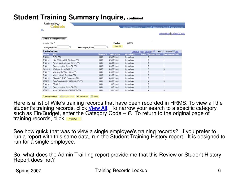 Student Training Summary Inquire,
