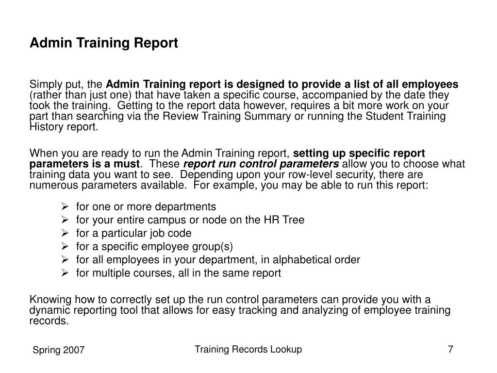 Admin Training Report
