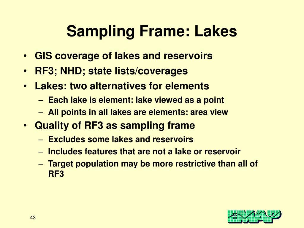 Sampling Frame: Lakes