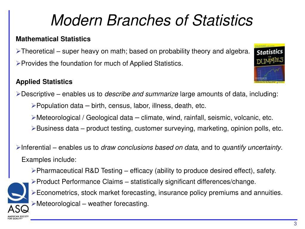 Modern Branches of Statistics