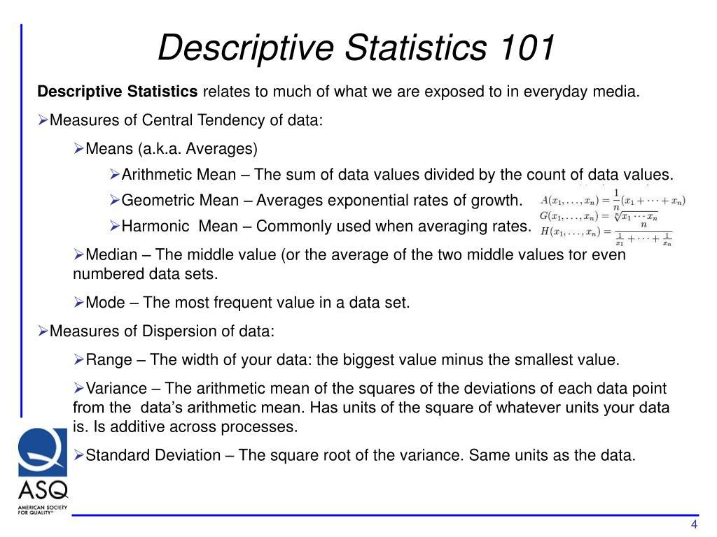 Descriptive Statistics 101