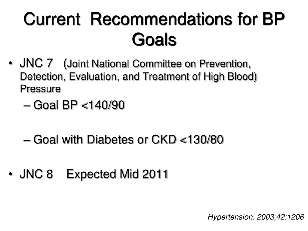 Current  Recommendations for BP Goals