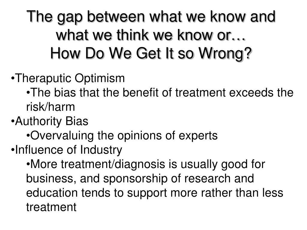 The gap between what we know and what we think we know or…