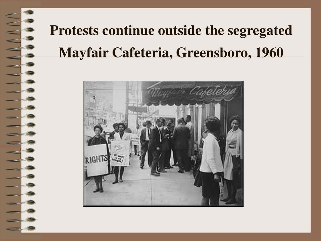 Protests continue outside the segregated Mayfair Cafeteria, Greensboro, 1960
