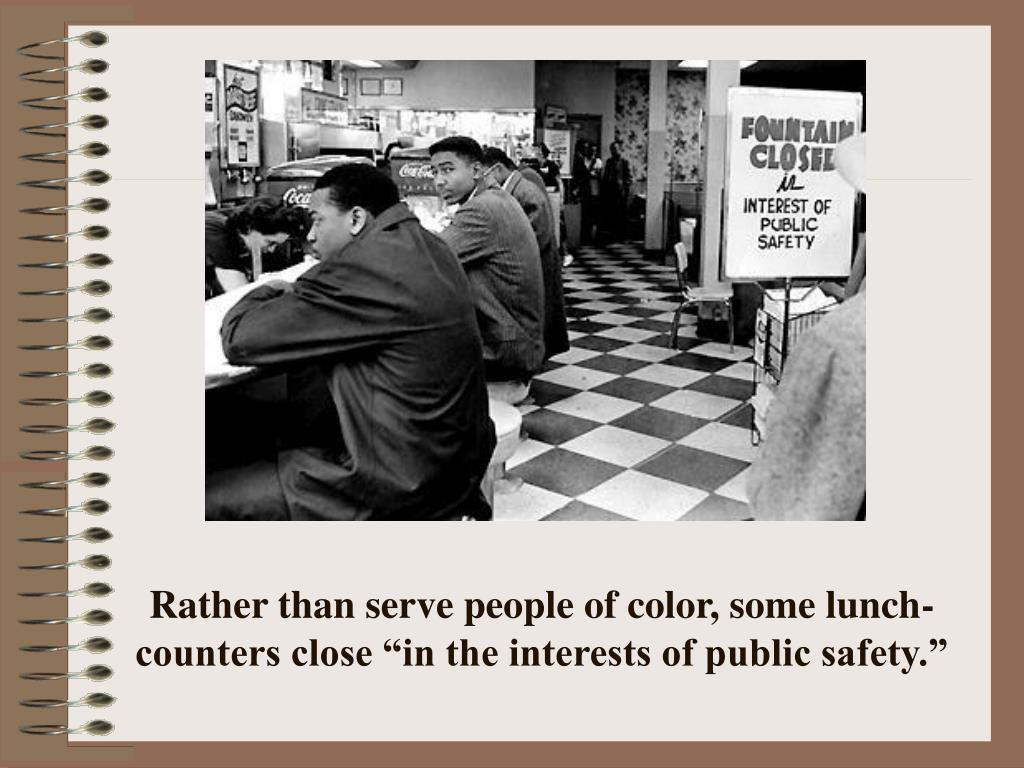 "Rather than serve people of color, some lunch-counters close ""in the interests of public safety."""