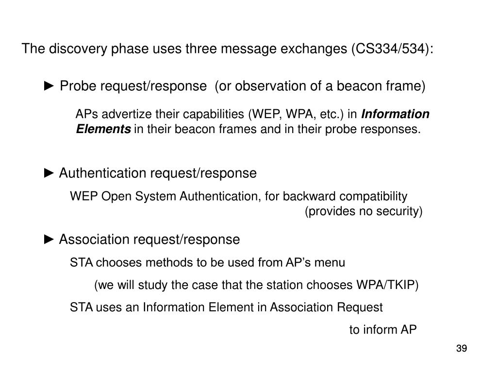 The discovery phase uses three message exchanges (CS334/534):