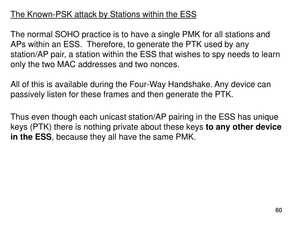 The Known-PSK attack by Stations within the ESS