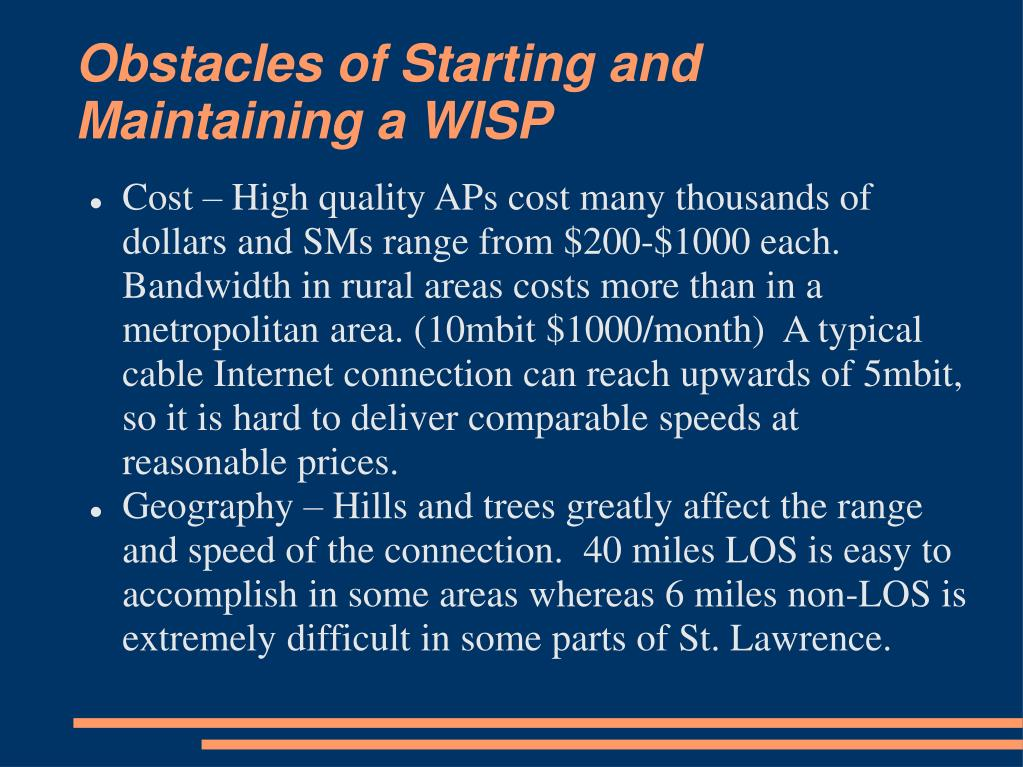 Obstacles of Starting and Maintaining a WISP