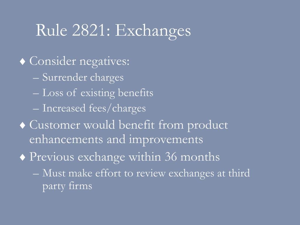 Rule 2821: Exchanges
