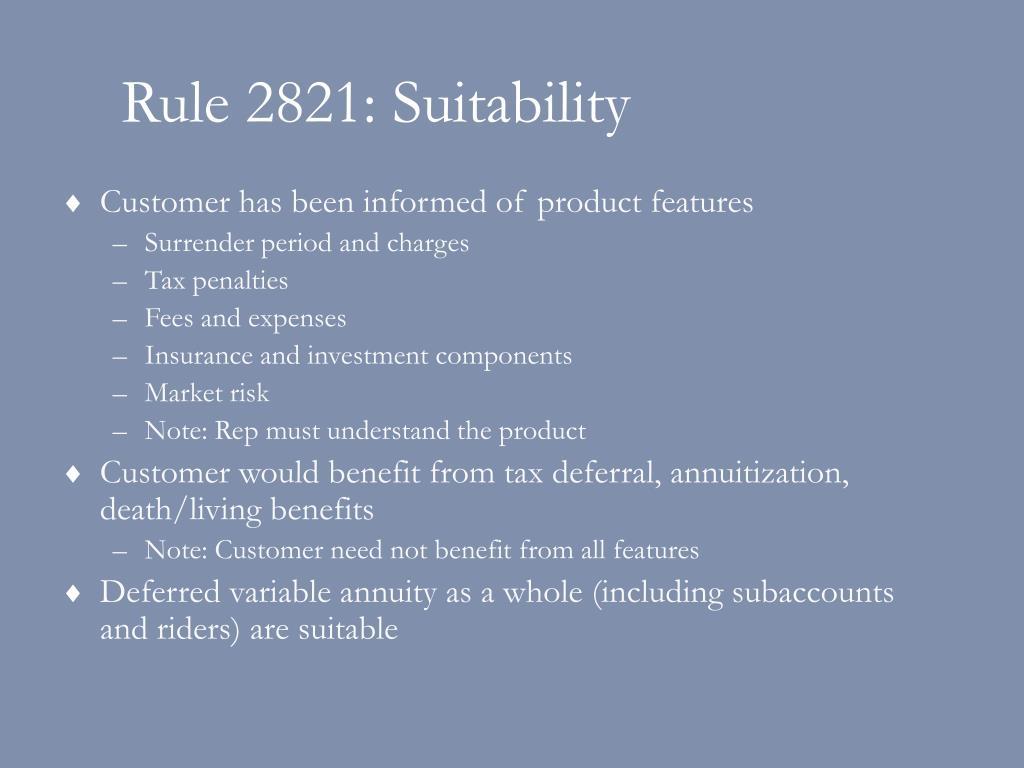 Rule 2821: Suitability