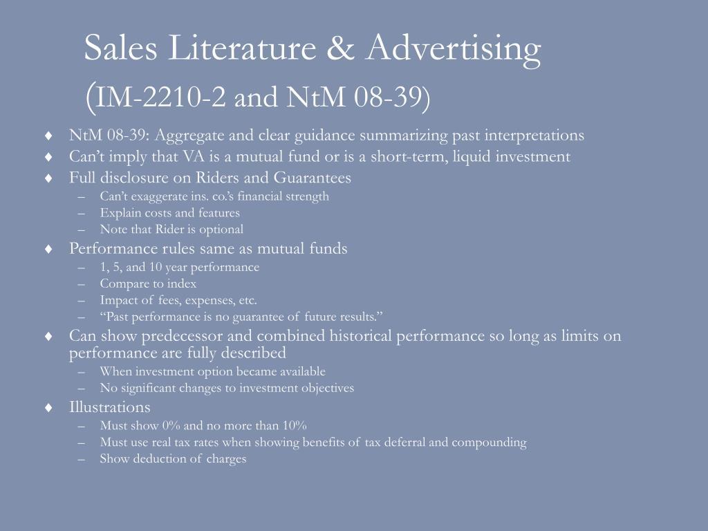 Sales Literature & Advertising