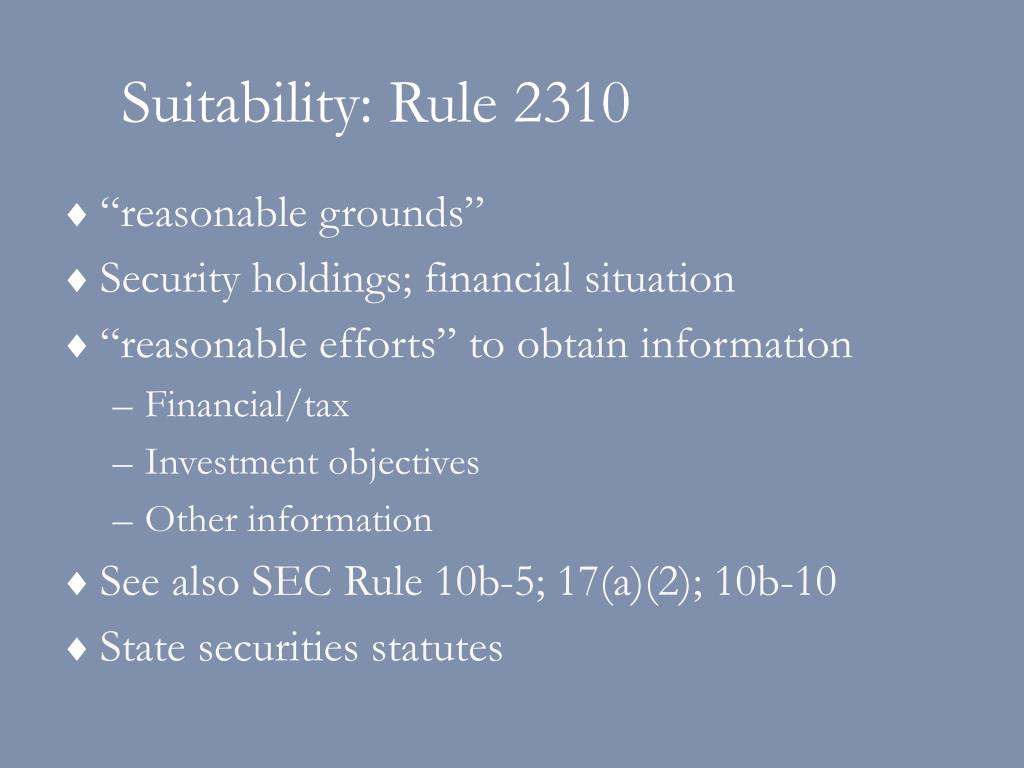 Suitability: Rule 2310