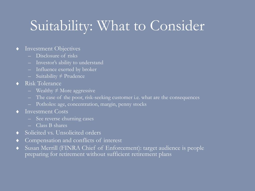 Suitability: What to Consider
