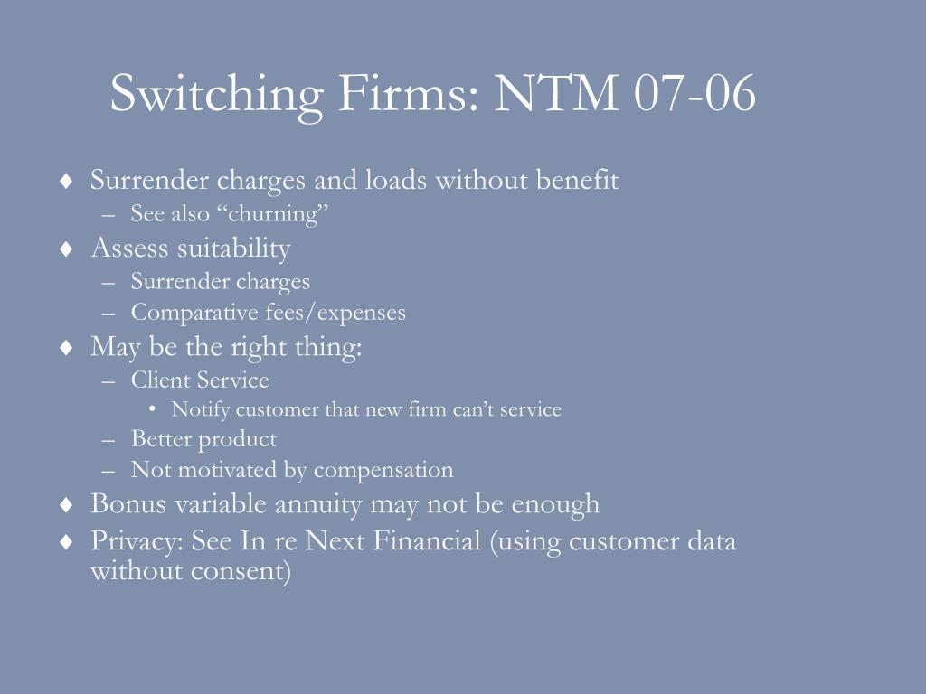 Switching Firms: NTM 07-06