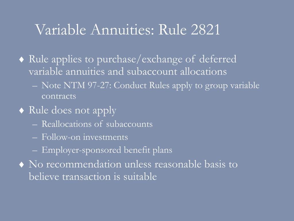 Variable Annuities: Rule 2821