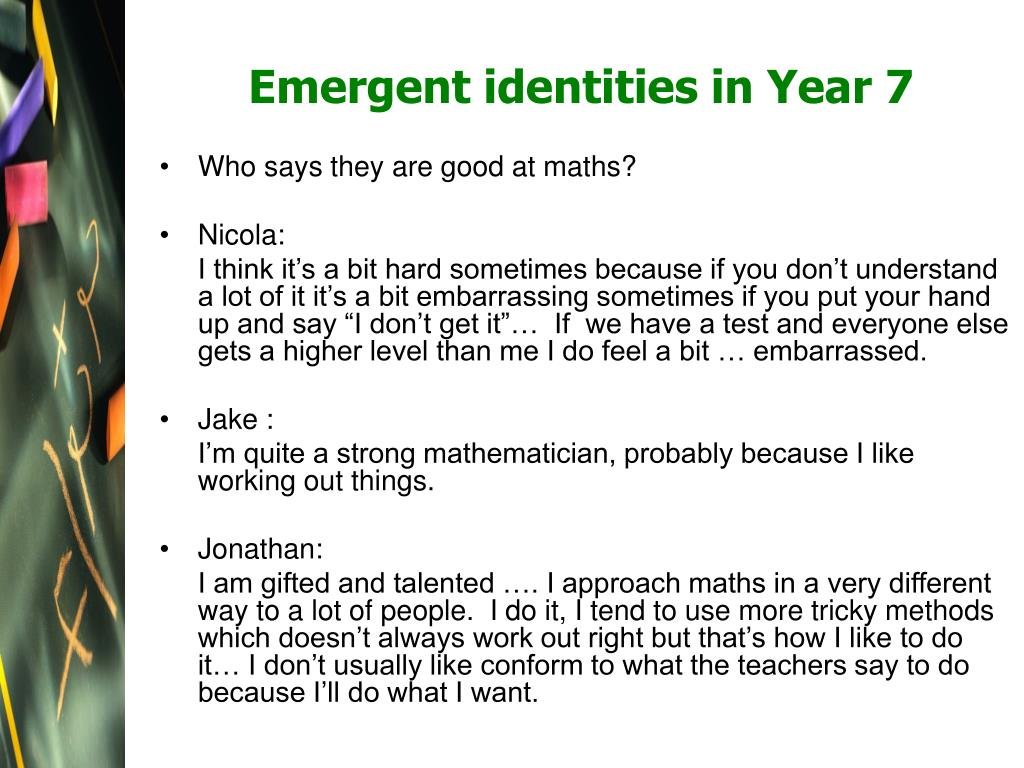 Emergent identities in Year 7