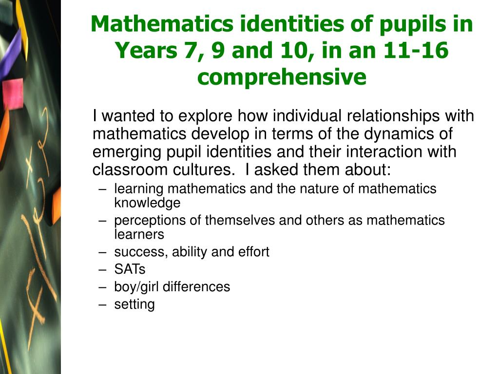 Mathematics identities of pupils in Years 7, 9 and 10, in an 11-16 comprehensive