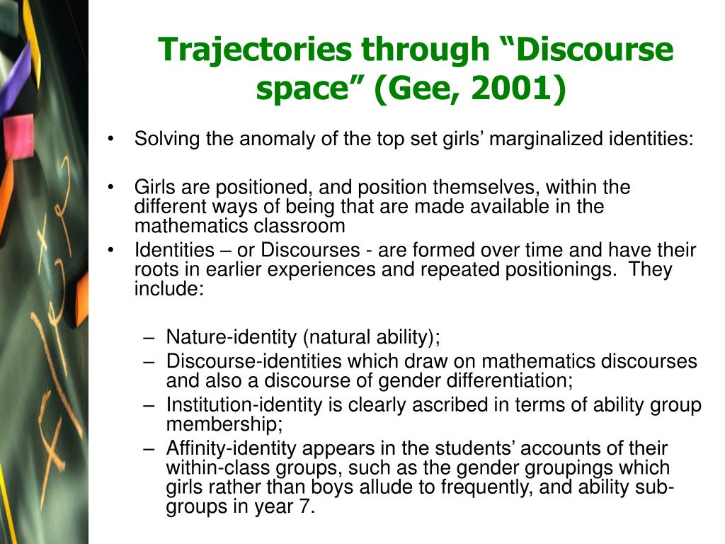 "Trajectories through ""Discourse space"" (Gee, 2001)"