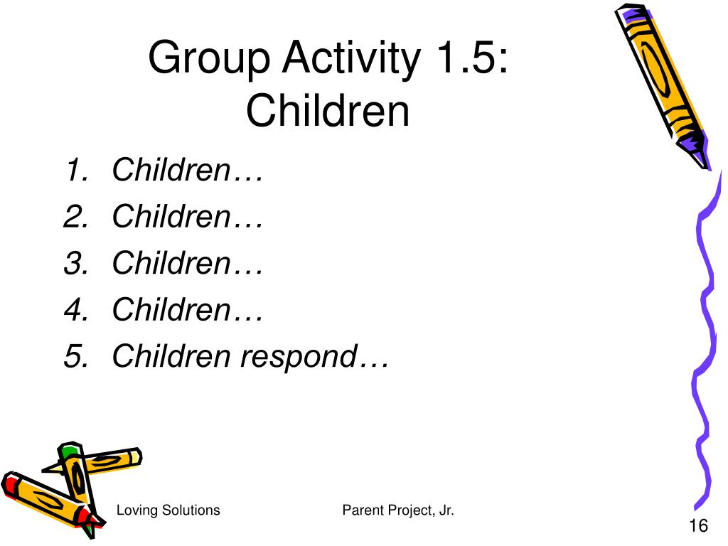 Group Activity 1.5: Children