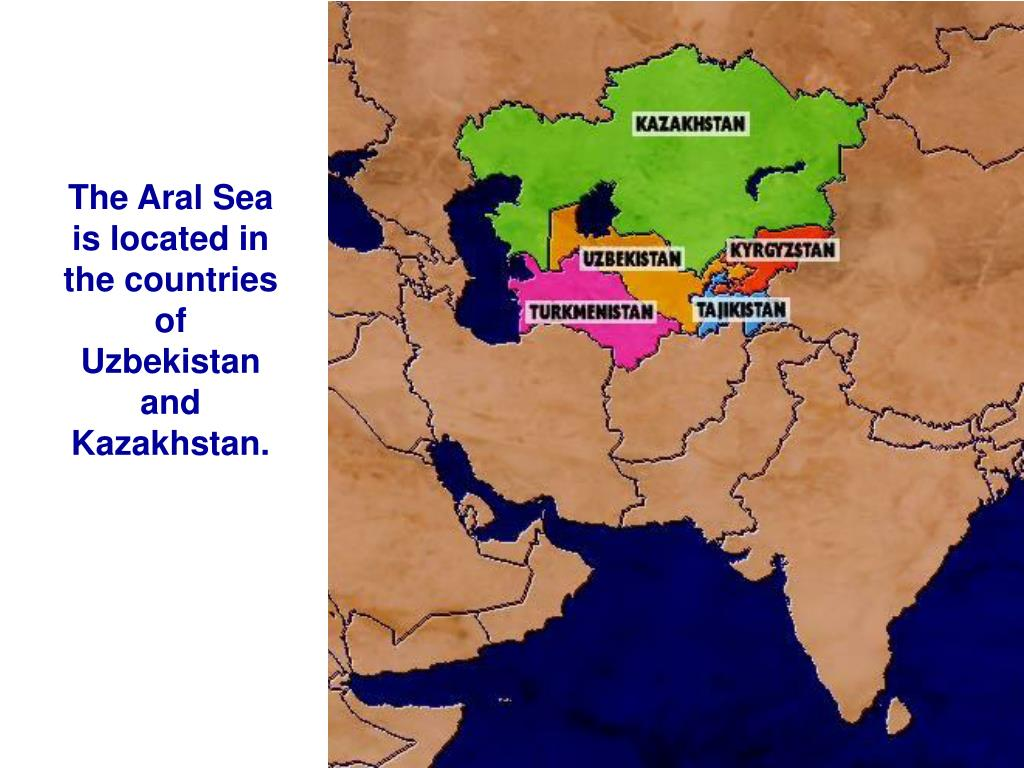 The Aral Sea is located in the countries of Uzbekistan and Kazakhstan.