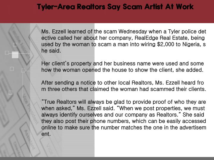 Tyler-Area Realtors Say Scam Artist At Work