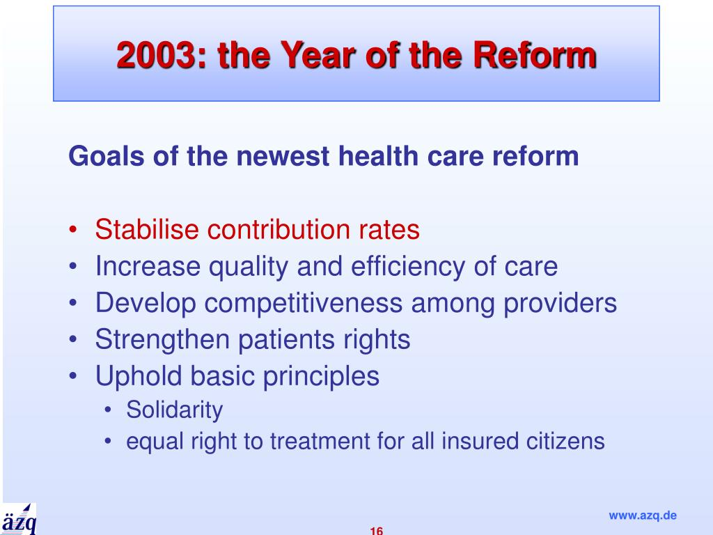 2003: the Year of the Reform