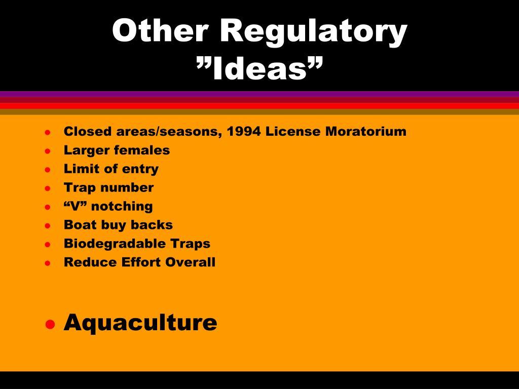 """Other Regulatory """"Ideas"""""""