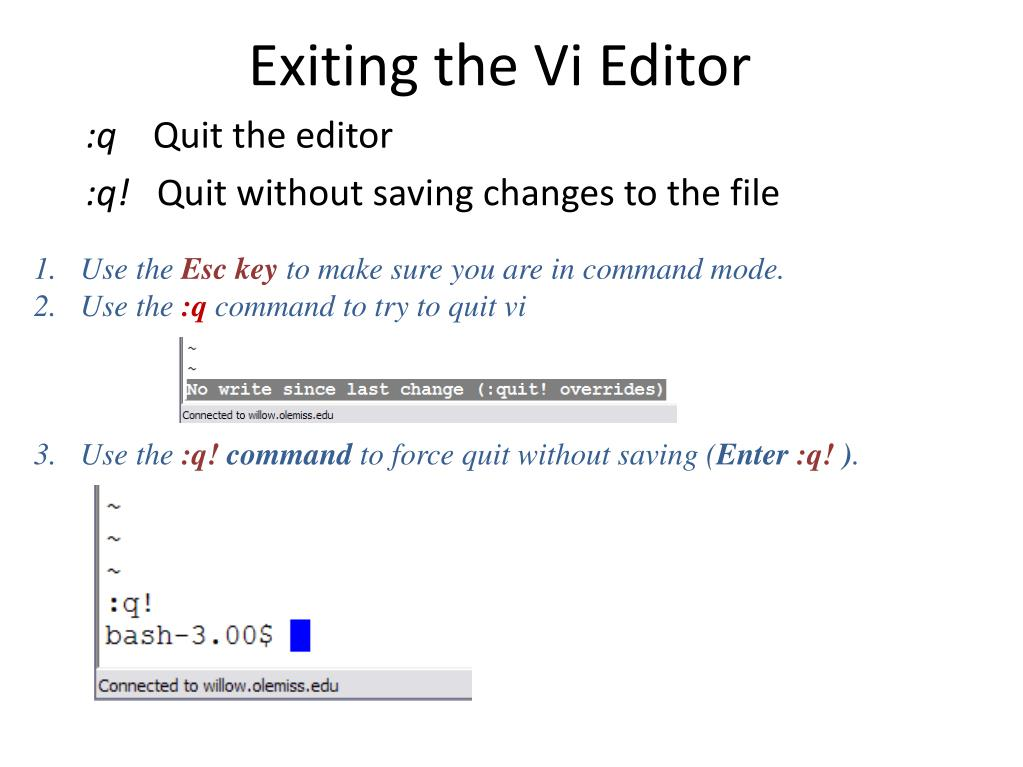 Exiting the Vi Editor