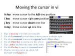moving the cursor in vi