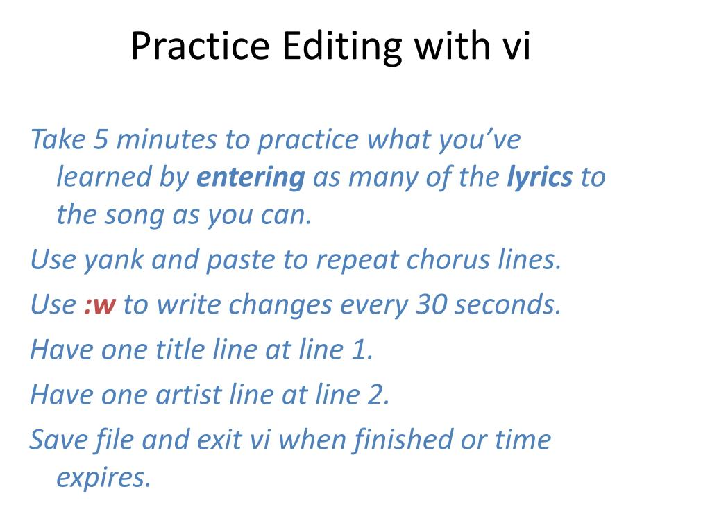 Practice Editing with vi