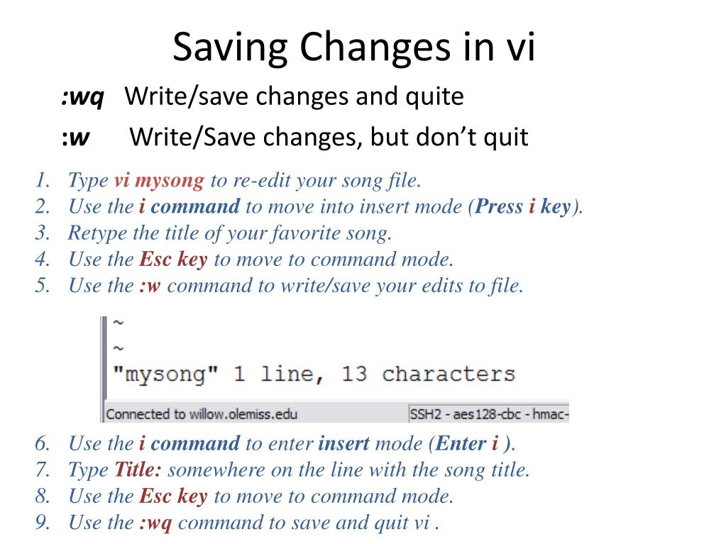 Saving Changes in vi